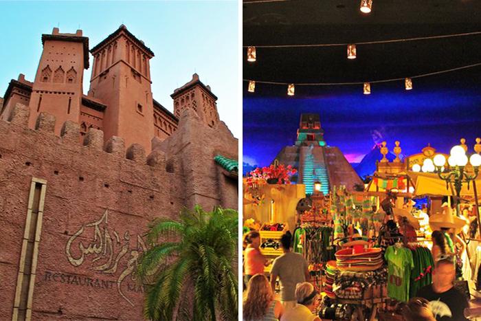 I Epcot kan du besøke Marokko og Mexico i løpet av en times tid.