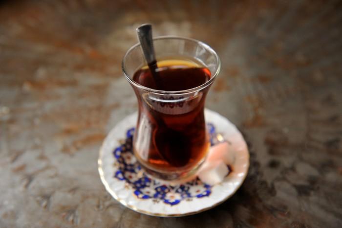 Istanbul, Sultanahmet, turkiskt te, teglas Tea.