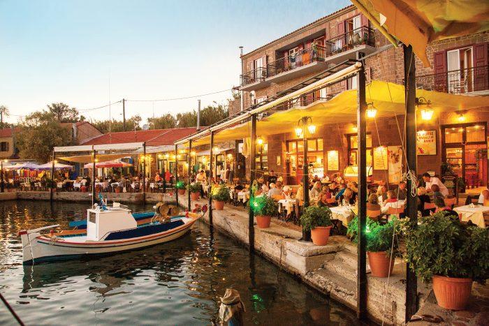 Lesbos, Molivos. Harbour at Hotel SeaHorse.