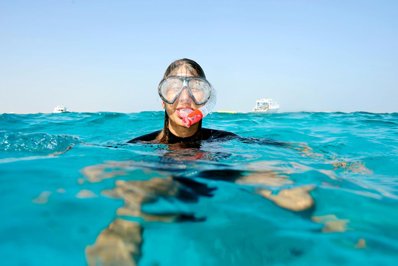 Bildetekst: I Hurghada kan hele familien trygt ta seg vann over hodet.